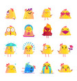 chicken cartoon character icons big set vector image vector image
