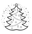 christmas tree linear style icon vector image