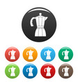 coffee pot icons set color vector image