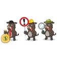 Dark Brown Wild Pig Mascot with money vector image vector image