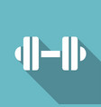 dumbbell icon with a long shadow vector image vector image