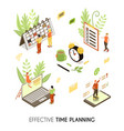 effective time planning isometric background vector image vector image