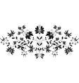 European folk floral pattern in black on white vector image vector image
