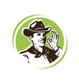 farmer in hat farm farming logo or emblem vector image