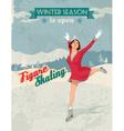 Figure skater girl vintage poster vector image vector image