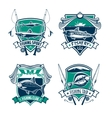 Fishing sport club heraldic badge set design vector image vector image