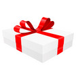 gift box decorated with shiny red ribbon vector image