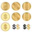 golden dollars - set of coins vector image