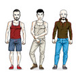 handsome young men posing in stylish sportswear vector image vector image
