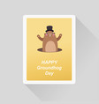 happy groundhog day greeting card minimalist flat vector image