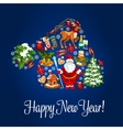 Happy New Year greeting poster Santa hat symbol vector image
