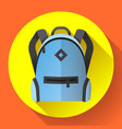 icon of bright blue school or travel backpack vector image vector image
