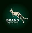 jump kangaroo art on green background logo design