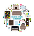 living room interior icons round concept vector image