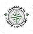 medical cannabis badge label with cannabis leaf vector image