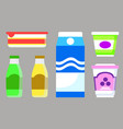 milk and yogurt dairy product isolated icons vector image vector image