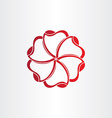 red hearts in circle icon vector image vector image