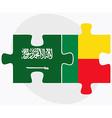 Saudi Arabia and Benin Flags vector image