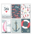 set 6 cute cards templates with marine design vector image