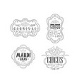 set of black and white emblems for circus vector image vector image