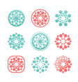 set round logos snowflakes logotypes vector image vector image