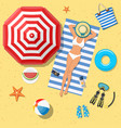 summer holidays on beach with sunbathing girl vector image