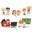 video games kids console gaming children playing vector image vector image