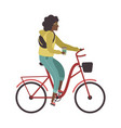 woman riding bicycle young character cyclist girl vector image vector image