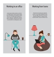 Working in office and from home vector image vector image