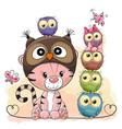 cute cartoon tiger and five owls vector image