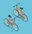 isometric orange bicycle ecologically vector image