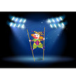A clown doing a trick at the stage vector image vector image