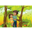 A forest with a father carrying his daughter vector image vector image