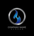 blue flame logo vector image