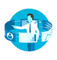 businessman stand around touch screen monitors vector image vector image