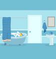 cartoon bath cute white hot shower and bathtub vector image