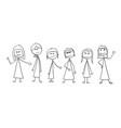 cartoon of crowd of six business women vector image