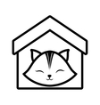 cat clossed eyes feline house pet outline vector image vector image