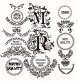 collection of antique hand drawn labels for design vector image vector image