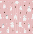 cute white cat on pink pastel background seamless vector image