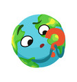doubting earth planet character holding red vector image vector image