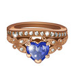 exclusive ring made of gold with inlaid blue vector image vector image