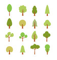 Flat trees set flat forest tree nature plant