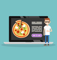 food delivery service conceptual young nerd vector image vector image