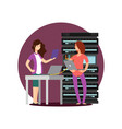 girls engineer technician working in server room vector image vector image
