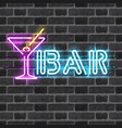 glowing neon bar sign with martini glass vector image vector image