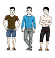 handsome young men group standing in stylish vector image vector image