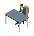 isometric businessman isolated on write creating vector image