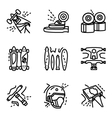 Longboard simple line icons set vector image vector image