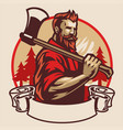 lumberjack mascot hold axe vector image vector image